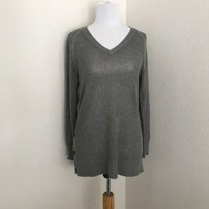 Banana Republic Grey open knit sweater buttons